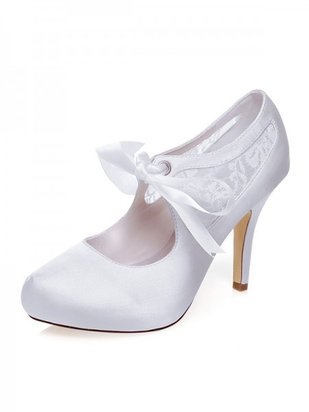 The Most Fashionable Women's Satin Closed Toe Silk Stiletto Heel Wedding Shoes