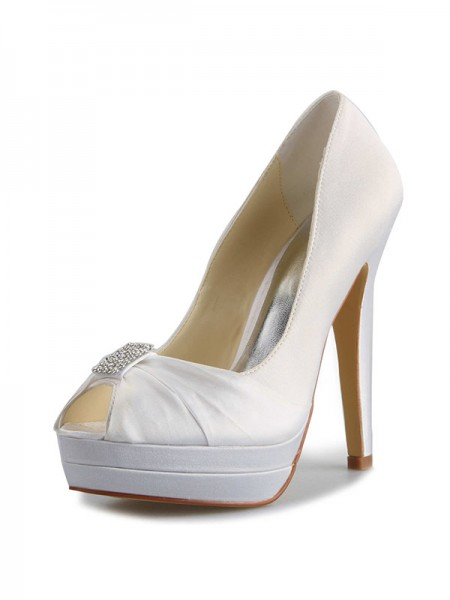 The Most Trendy Women's Satin Stiletto Heel Platform Peep Toe With Rhinestone White Wedding Shoes
