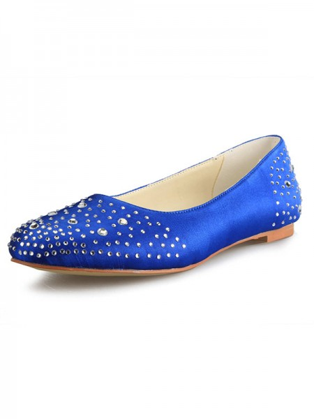 Fashion Trends Women's Flat Heel Satin Closed Toe With Rhinestone Flat Shoes
