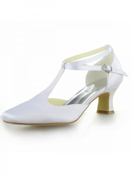The Most Stylish Women's White Satin Closed Toe Chunky Heel With Buckle High Heels