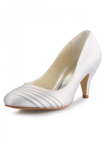 The Most Trendy Women's Cone Heel Satin Closed Toe White Wedding Shoes