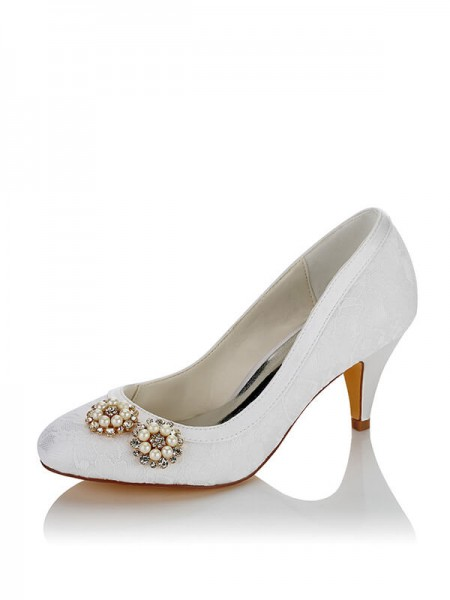 Fashion PU Closed Toe Spool Heel Wedding Shoes For Women
