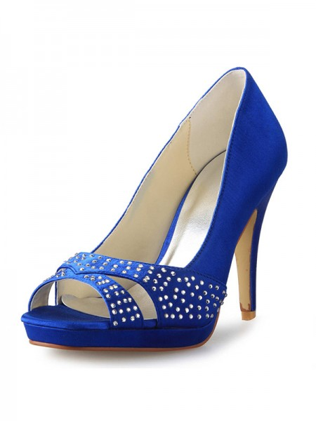 The Most Stylish Women's Cone Heel Peep Toe Satin With Rhinestone High Heels