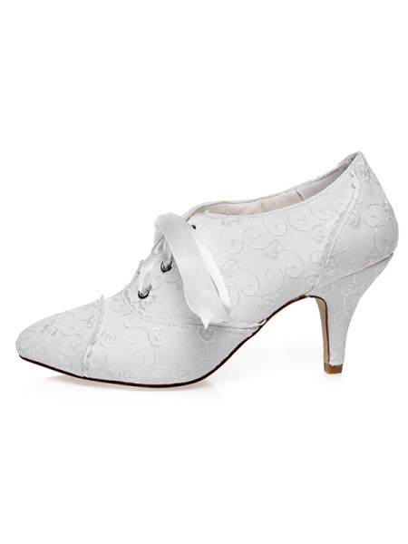 The Most Trendy Women's Satin Closed Toe Silk Cone Heel Wedding Shoes