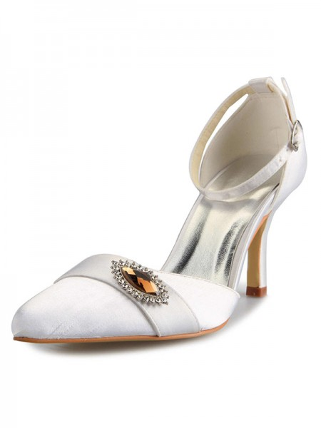 Fashion Trends Women's Mary Jane Satin Stiletto Heel Closed Toe With Rhinestone White Wedding Shoes