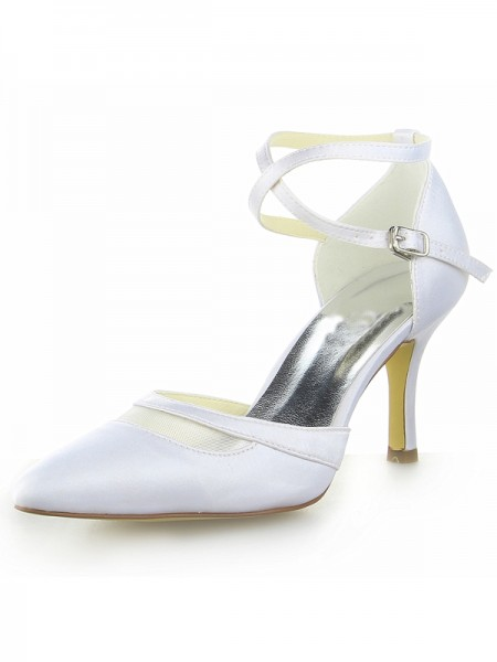 Fashion Trends Women's White Satin Closed Toe Spool Heel With Buckle White Wedding Shoes