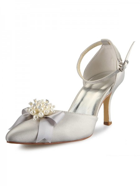 Fashion Trends Women's Spool Heel Satin Closed Toe With Pearl Bowknot White Wedding Shoes