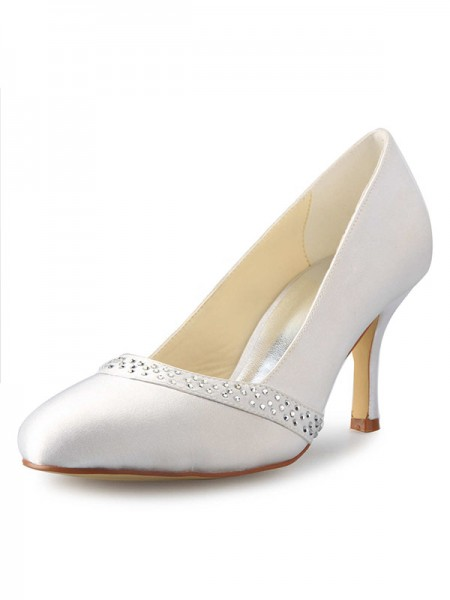Fashion Trends Women's Stiletto Heel Closed Toe Satin With Rhinestone White Wedding Shoes