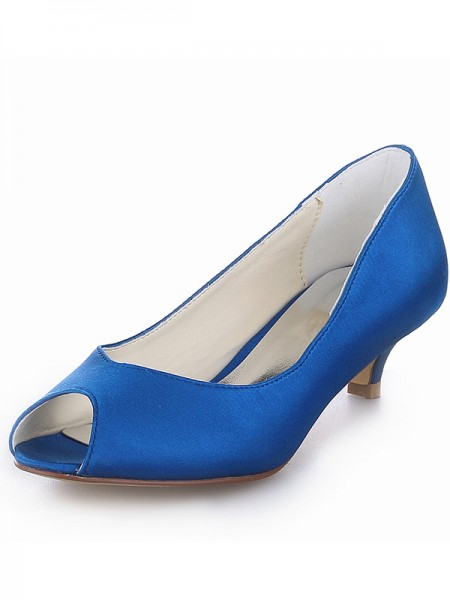 The Most Stylish Women's Kitten Heel Satin Peep Toe High Heels