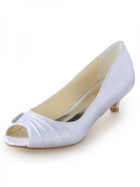 Fashion Trends Women's Satin Peep Toe Kitten Heel With Rhinestone White Wedding Shoes