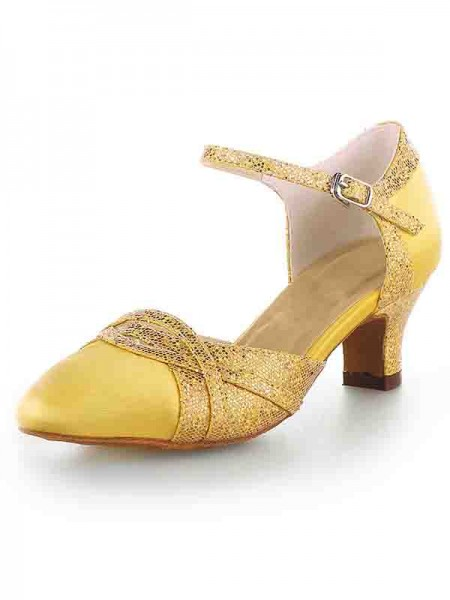 The Most Stylish Women's Satin Closed Toe Chunky Heel With Sparkling Glitter High Heels