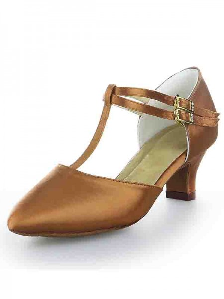 The Most Stylish Women's T-Strap Satin Closed Toe Kitten Heel With Buckle High Heels