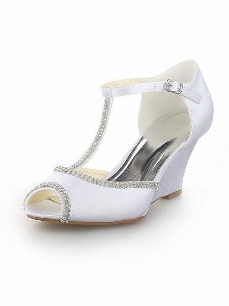 The Most Stylish Women's Peep Toe T-Strap With Rhinestone Satin Wedge Heel White Wedding Shoes