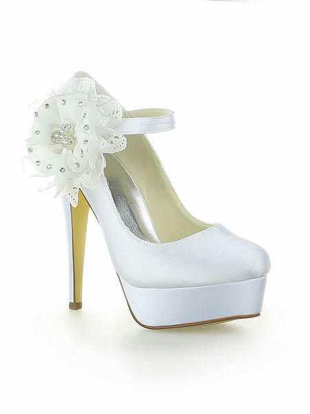 The Most Stylish Women's Satin Platform Closed Toe With Flower Stiletto Heel White Wedding Shoes