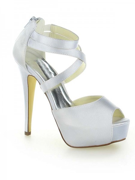 The Most Stylish Women's Satin Platform Peep Toe With Zipper Stiletto Heel White Wedding Shoes