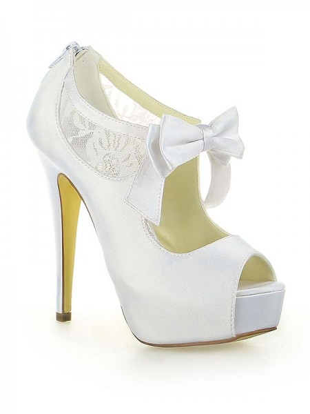 The Most Stylish Women's Satin Lace Platform Peep Toe With Bowknot Stiletto Heel White Wedding Shoes