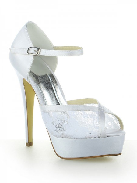 The Most Stylish Women's Satin Lace Platform Peep Toe With Buckle Stiletto Heel White Wedding Shoes