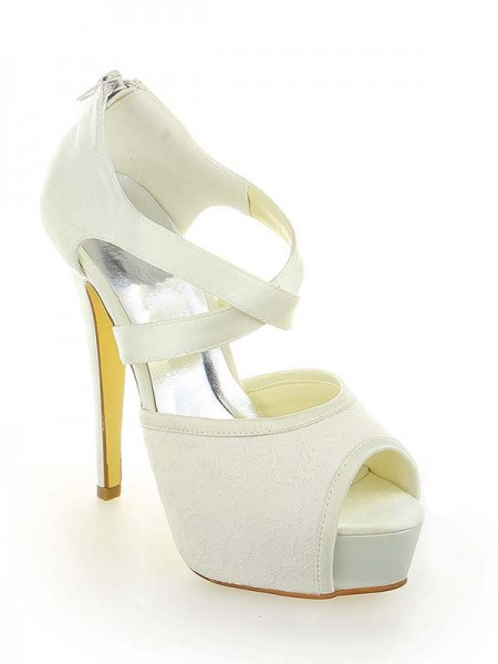 The Most Stylish Women's Satin Lace Platform Peep Toe Stiletto Heel With Zipper White Wedding Shoes