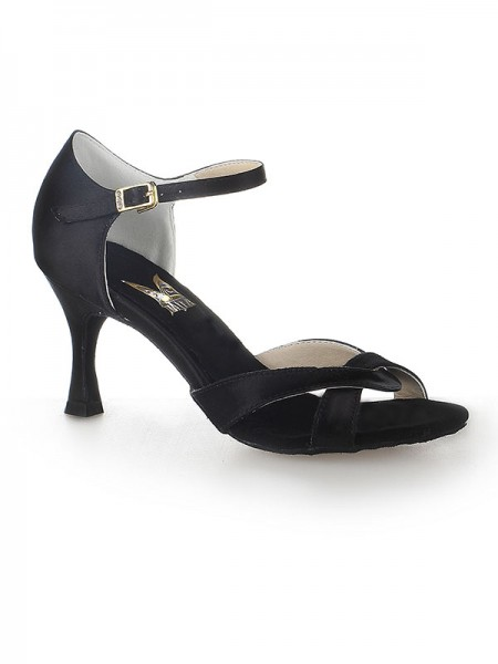 Fashion Trends Women's Satin Peep Toe Stiletto Heel Buckle Dance Shoes