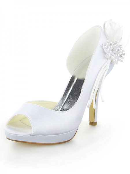 The Most Fashionable Women's Satin Platform Peep Toe Stiletto Heel With Pearl White Wedding Shoes