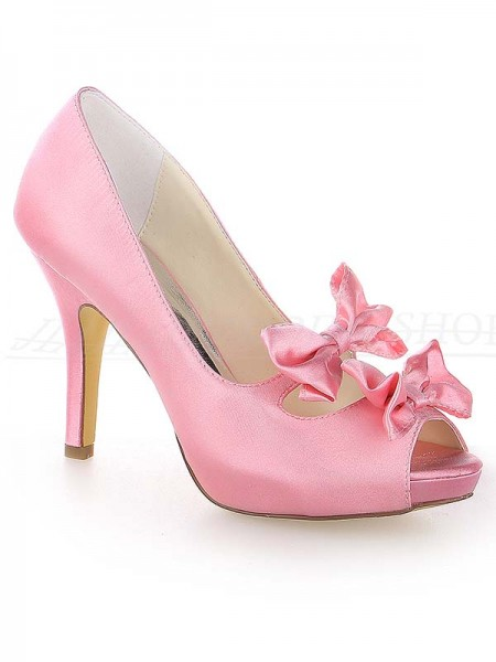 The Most Fashionable Women's Satin Peep Toe Stiletto Heel Platform With Bowknot Watermelon Wedding Shoes