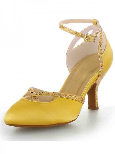 The Most Fashionable Women's Cone Heel Satin Closed Toe With Buckle High Heels