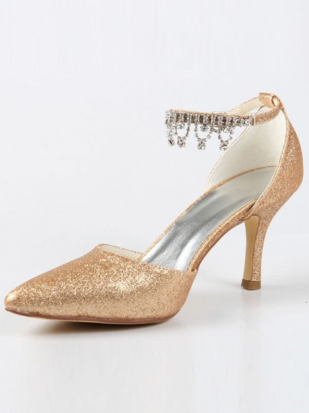 The Most Fashionable Women's Mary Jane Closed Toe Cone Heel With Rhinestone High Heels