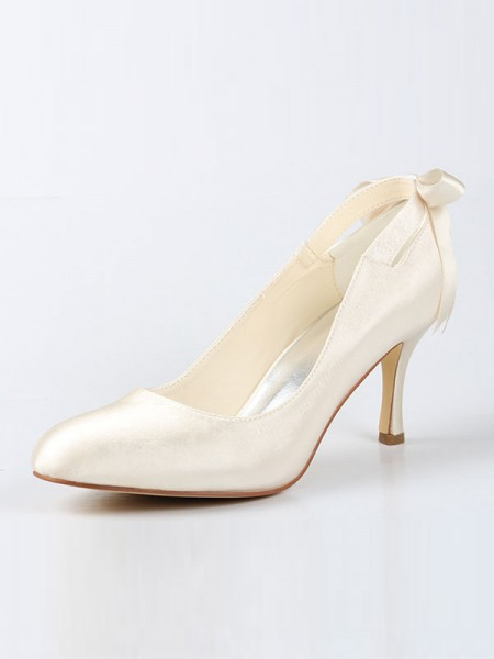 The Most Fashionable Women's Satin Closed Toe Spool Heel With Bowknot Ivory Wedding Shoes