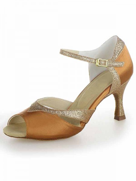 The Most Fashionable Women's Satin Peep Toe Stiletto Heel Sparkling Glitter Dance Shoes