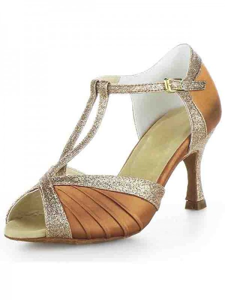 The Most Fashionable Women's Stiletto Heel Satin Peep Toe Buckle Sparkling Glitter Dance Shoes