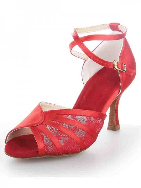 The Most Fashionable Women's Stiletto Heel Satin Peep Toe Buckle Dance Shoes