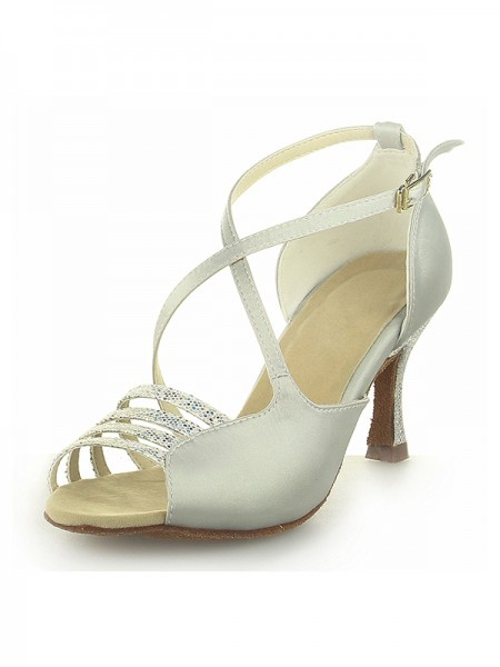 The Most Fashionable Women's Peep Toe Satin Spool Heel With Buckle Ivory Wedding Shoes