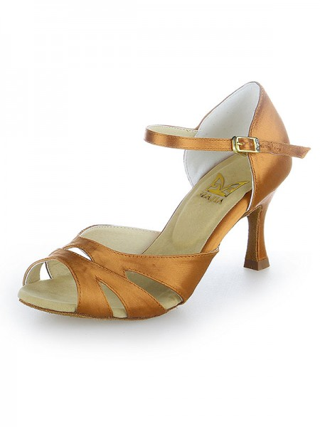 The Most Trendy Women's Peep Toe Buckle Satin Stiletto Heel Dance Shoes