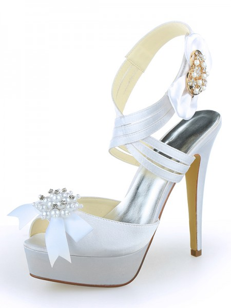 The Most Fashionable Women's Satin Peep Toe Platform Stiletto Heel With Pearl White Wedding Shoes