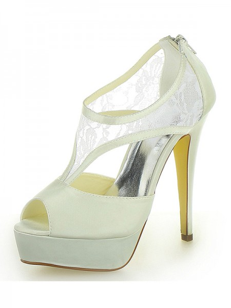 The Most Fashionable Women's Stiletto Heel Satin Platform Peep Toe With Zipper Ivory Wedding Shoes