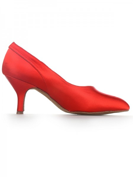 The Most Fashionable Women's Red Closed Toe Cone Heel Satin High Heels
