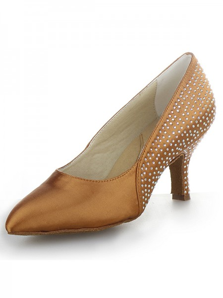 The Most Fashionable Women's Cone Heel Satin Closed Toe With Rhinestone High Heels