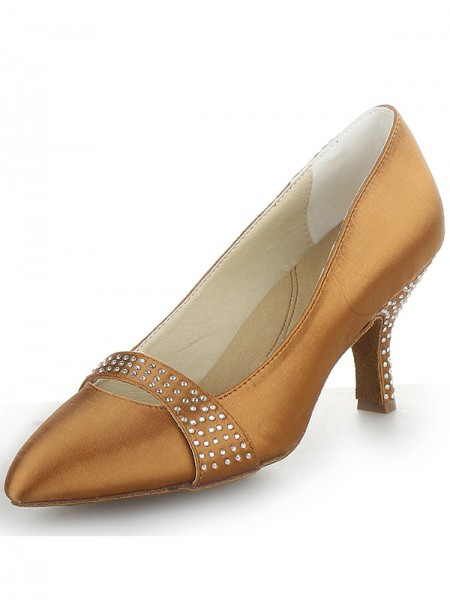 The Most Fashionable Women's Satin Cone Heel Closed Toe With Rhinestone High Heels