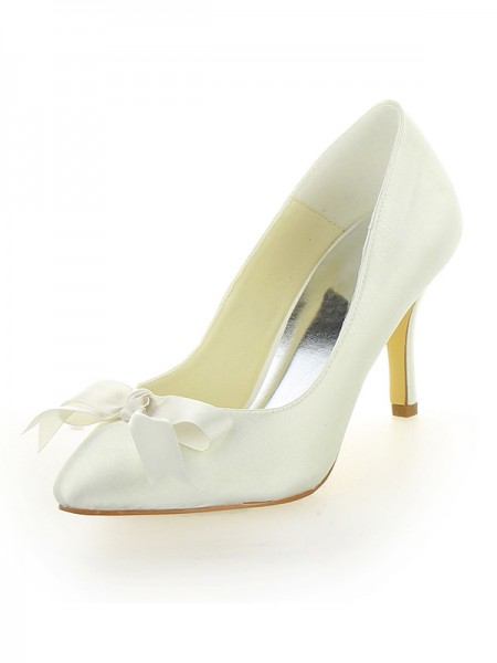 The Most Fashionable Women's Stiletto Heel Satin Closed Toe With Bowknot Ivory Wedding Shoes