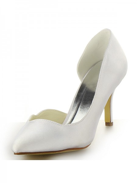 The Most Fashionable Women's Satin Closed Toe Stiletto Heel White Wedding Shoes