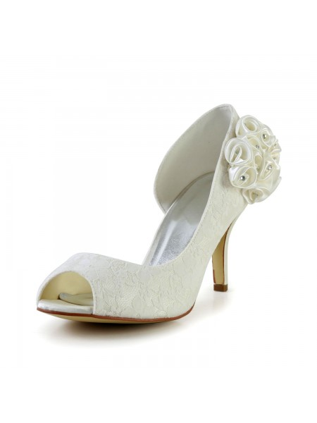 The Most Fashionable Women's Stiletto Heel Satin Ivory Wedding Shoes With Flower