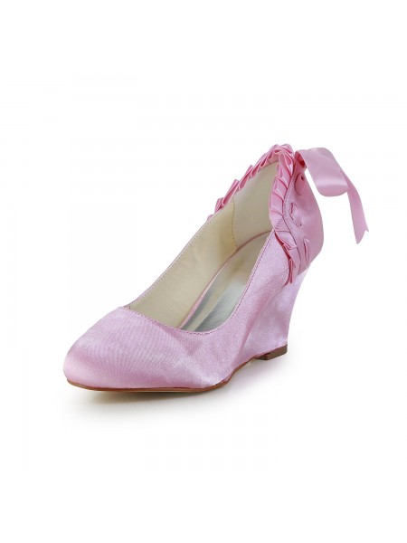 The Most Trendy Women's Unique Satin Wedge Heel Closed Toe Pink Wedding Shoes