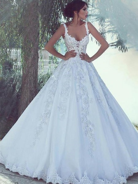 Ball Gown Spaghetti Straps Sleeveless Floor-Length With Applique Tulle Wedding Dresses