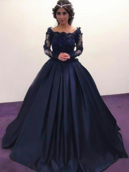 Ball Gown Bateau Long Sleeves Sweep Train With Applique Satin Dresses