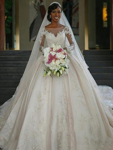 Ball Gown Bateau Long Sleeves Sweep/Brush Train With Applique Satin Wedding Dresses