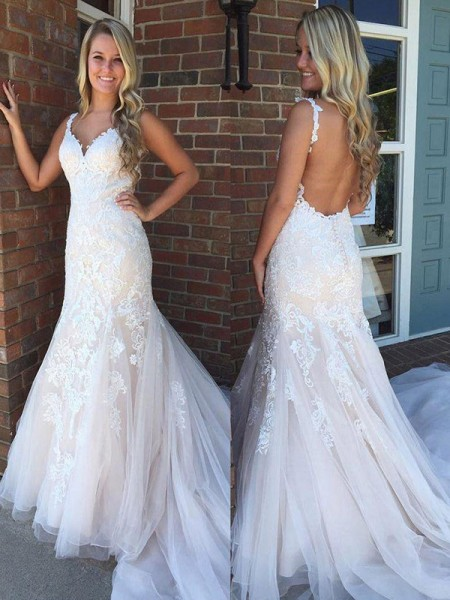 Mermaid V-neck Sleeveless Sweep/Brush Train With Applique Tulle Wedding Dresses