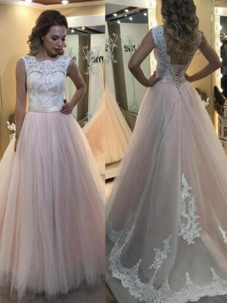 A-Line Bateau Sleeveless Sweep/Brush Train Lace Tulle Dresses