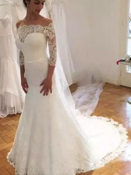 Mermaid Off-the-Shoulder 3/4 Sleeves Sweep/Brush Train With Ruffles Lace Wedding Dresses
