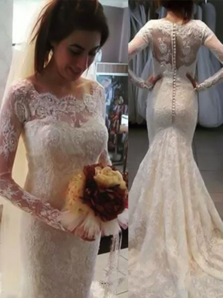 Mermaid Bateau Long Sleeves Sweep/Brush Train With Applique Lace Wedding Dresses