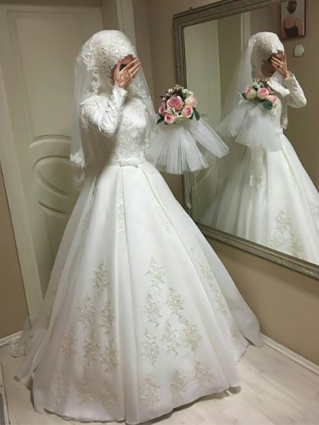 Ball Gown Jewel Long Sleeves Floor-Length With Bowknot Organza Wedding Dresses